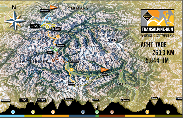 Streckenübersicht Transalpine-Run 2013 (click to enlarge)