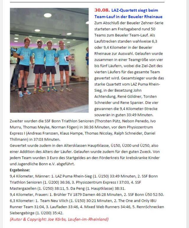 Bericht auf Laufen-im-Rheinland.de