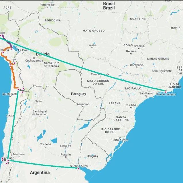 Süd Amerika Reiseroute