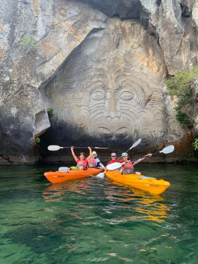 Mine Bay Maori Rock Carvings - self explored with the Kayaks